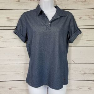 LIJA button tab sleeve fitted polo golf shirt M